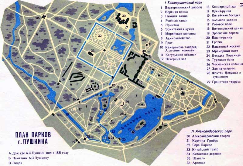 План парков г.Пушкина 1990 г.