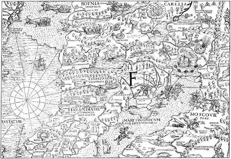 Часть карты Оласа Магнуса XVI